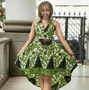 Ankara high low sleeveless dress